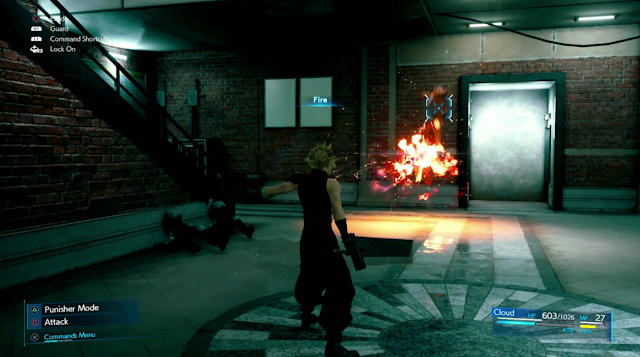 Cloud casts Fire Final Fantasy VII Remake Square Enix E3 2019