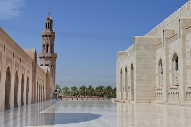 Gross, Sultan, Qabus, Moschee, Muscat, Oman, Palmen, Marmor, Nebengebäude