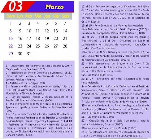 Mppe: Calendario oficial mes de Marzo de 2020