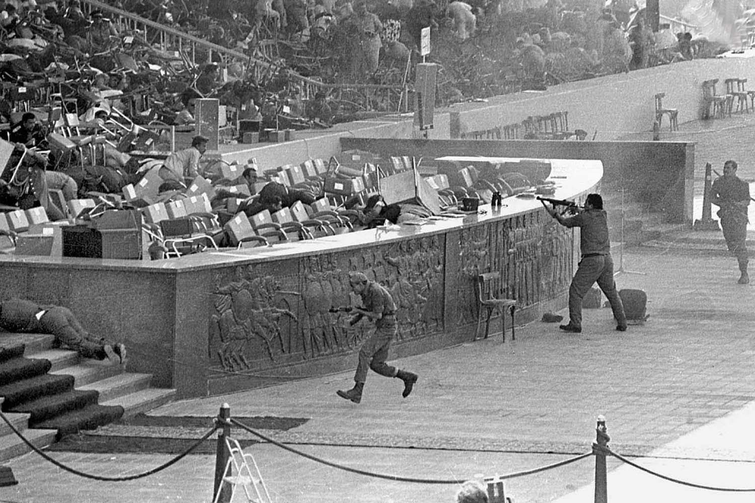 Extremists assassinate Anwar Sadat in Cairo, 1981.