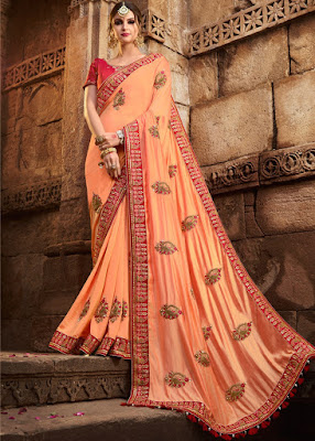 Art silk Peach with heavy blouse indian party wear fancy saree