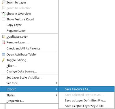 Export Data QGIS