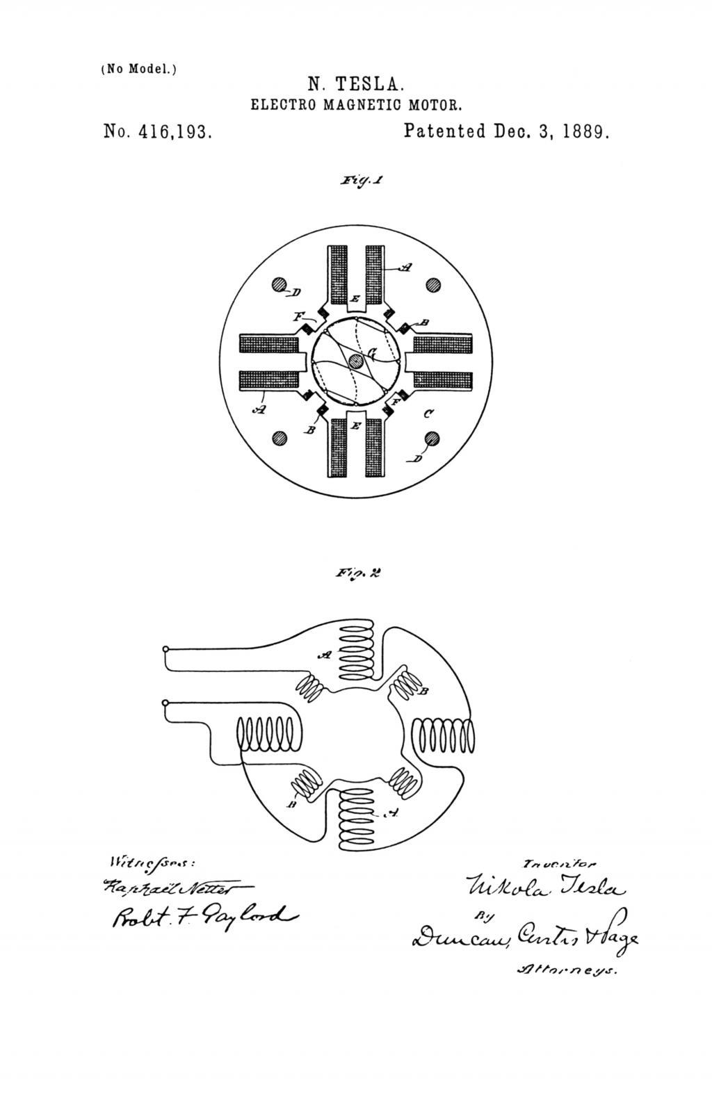 NIKOLA TESLA U.S. PATENT 416,193 - ELECTRO-MAGNETIC MOTOR