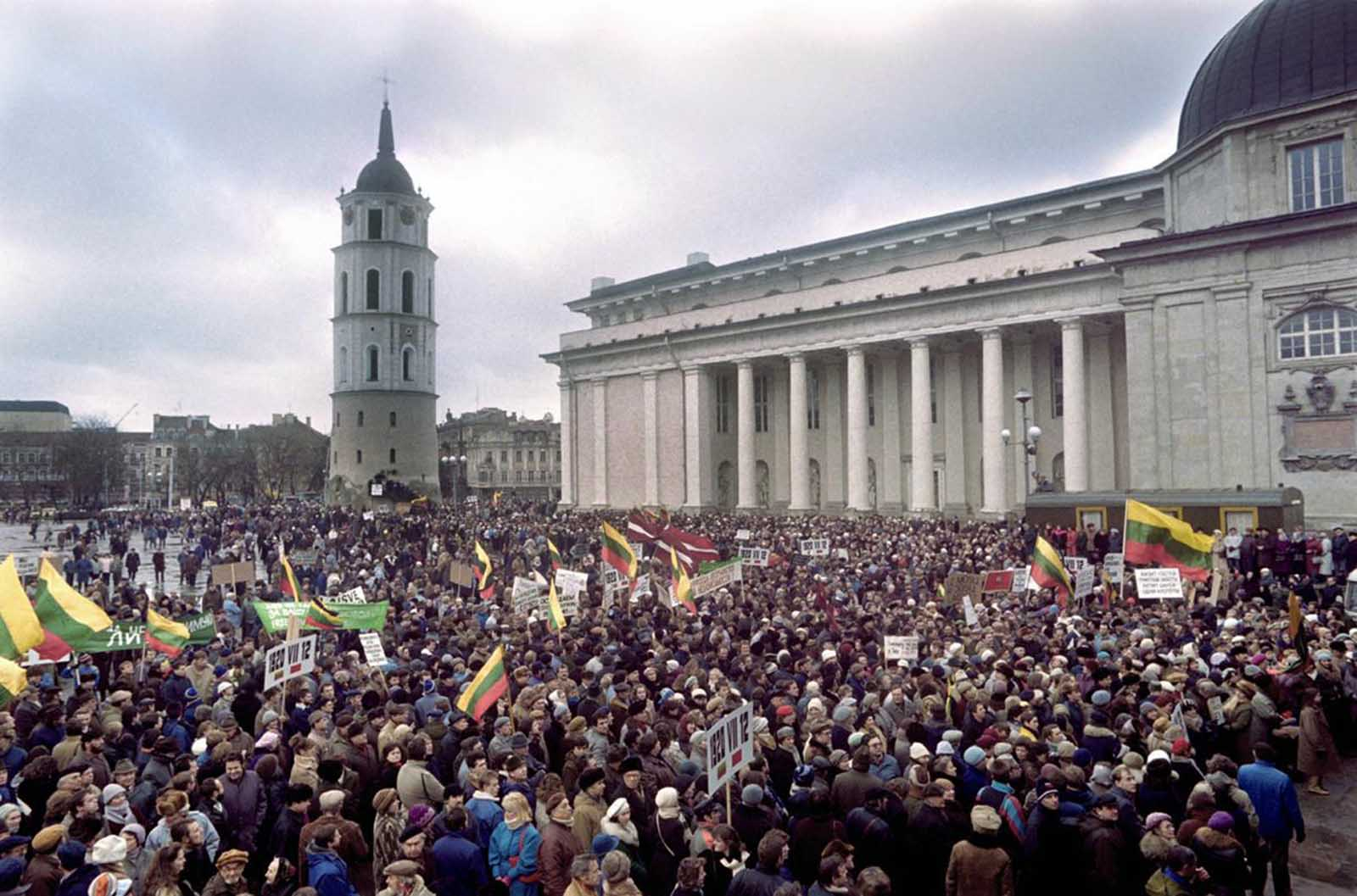 Lithuanians carry Lithuanian flags in the center of Vilnius on January 10, 1990, during demonstration asking for the country's independence. In early 1990, Sajudis-Reform Movement of Lithuania backed candidates won the elections to the Lithuanian Supreme Soviet. On March 11, 1990, the Supreme Soviet proclaimed the re-establishment of Lithuanian independence. The Baltic republics were in forefront of the struggle for independence and Lithuania was the first of the Soviet republics to declare independence.