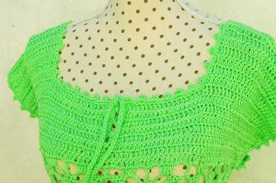 7 - Crochet IMAGEN Blusa verde a crochet y ganchillo muy fácil y sencilla. MAJOVEL CROCHET