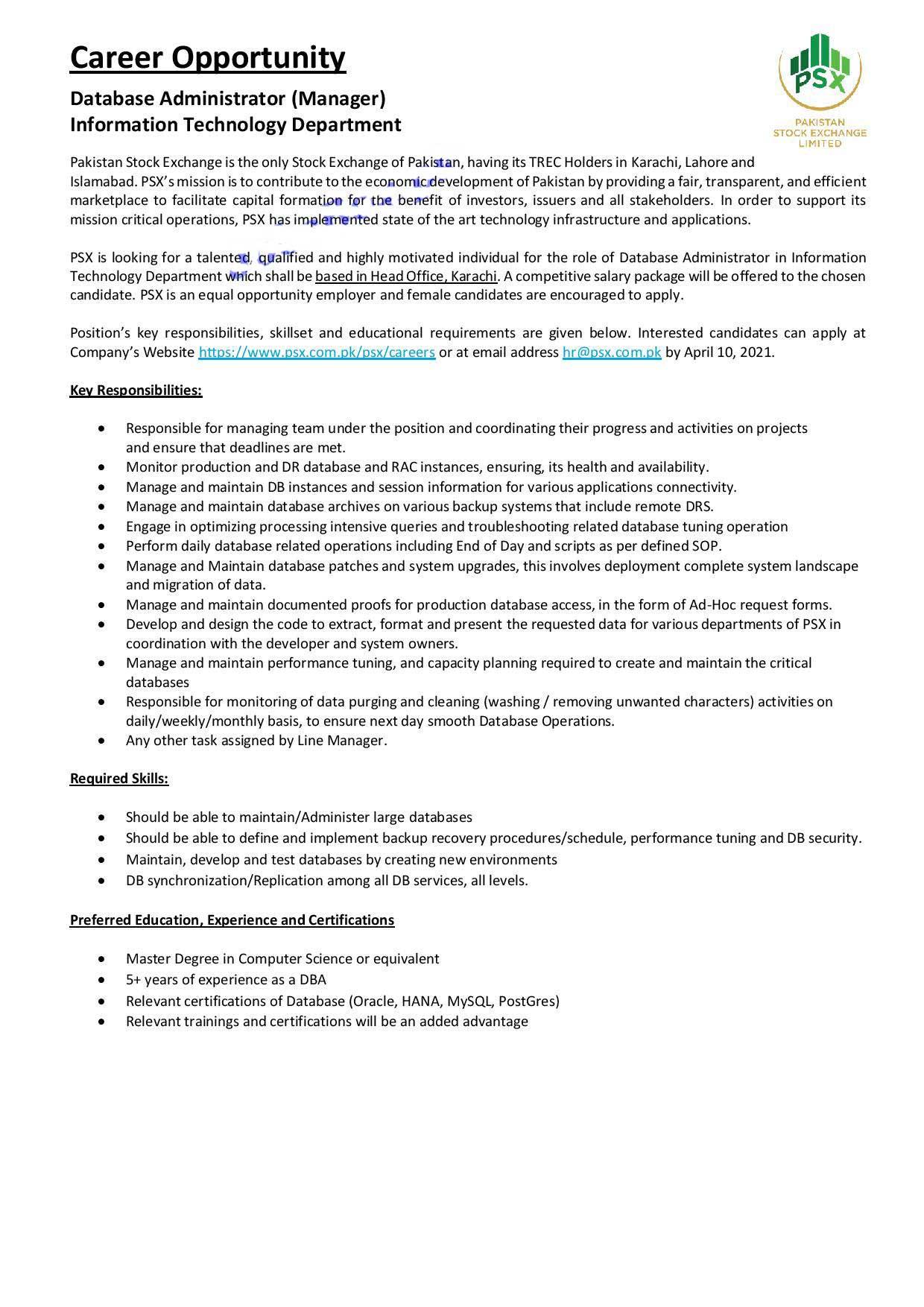 Pakistan Stock Exchange PSX Jobs 2021 - Apply Online - Latest Jobs in Pakistan Stock Exchange PSX 2021 Advertisement