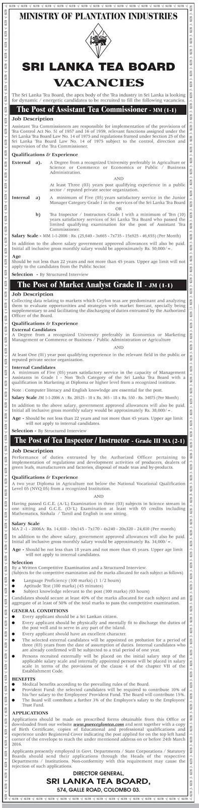 Vacancies - Assistant Tea Commissioner - Market Analyst Grade II - Tea Inspector/Instructor Grade III - Sri Lanka Tea Board - Ministry of Plantation Industries