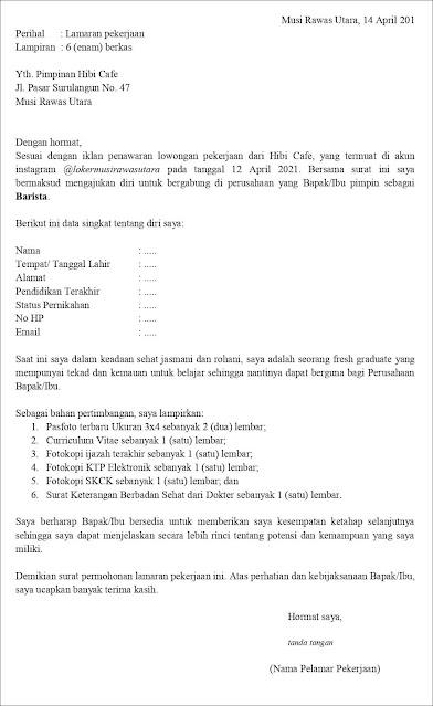 Contoh Surat Lamaran Pekerjaan Untuk Barista (Fresh Graduate) Berdasarkan Informasi Dari Media Sosial