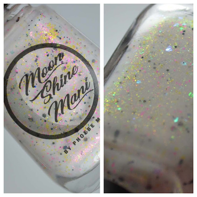 white nail polish with shimmer and colorful glitter in a bottle