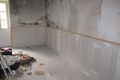 Panels, grand lounge look, Louis, French manoir renovation,