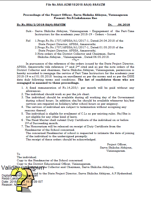 Vizianagaram District - Re-engaging of Part Time Instructors 2018-19 - List of the Candidates