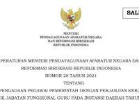 Peraturan Menteri 'Pengadaan PPPK Jabatan Fungsional Guru Instansi Daerah 2021