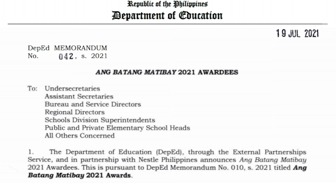 DepEd MEMORANDUM No. 042, s. 2021   ANG BATANG MATIBAY 2021 AWARDEES [READ & DOWNLOAD HERE]