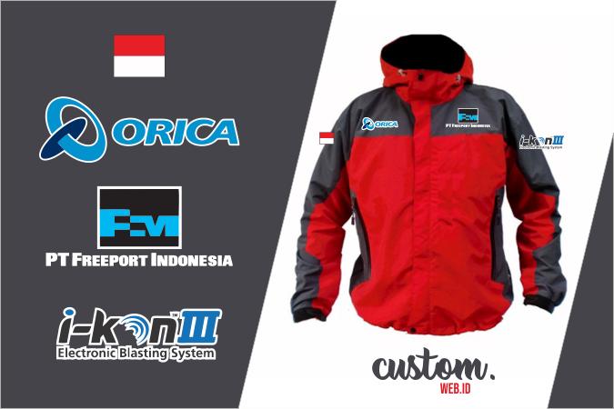 Jacket Orica Freeport Indonesia Kombinasi Abu Merah Bordir Komputer