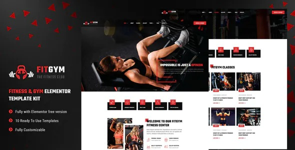Best Fitness and Gym Elementor Template Kit