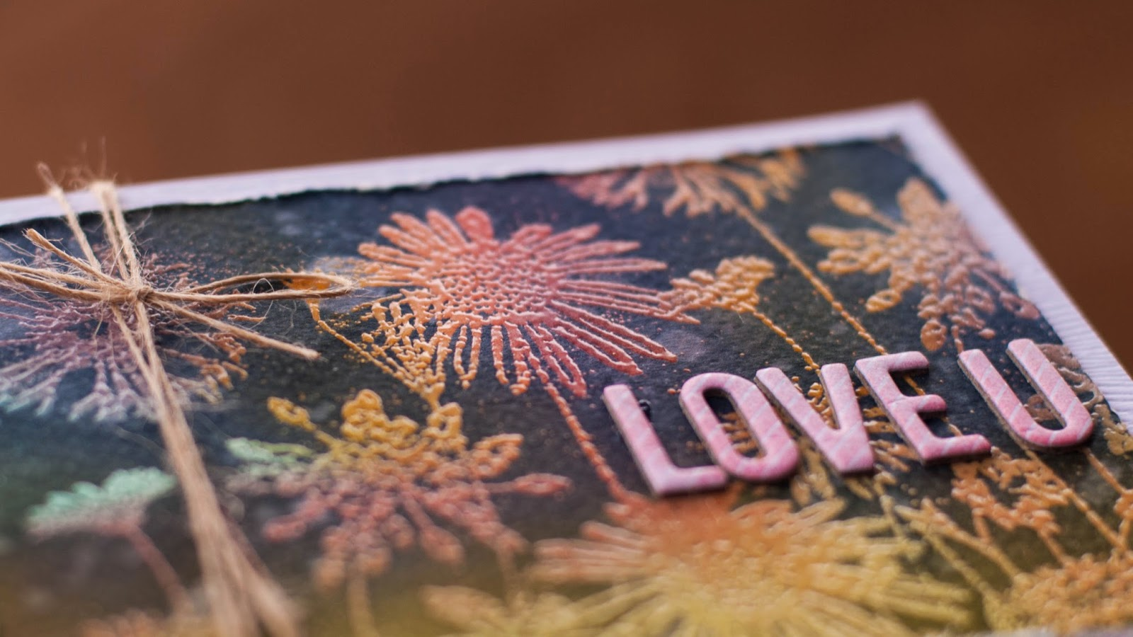emboss resist with solid stamps - valentine card #4 - side view detail