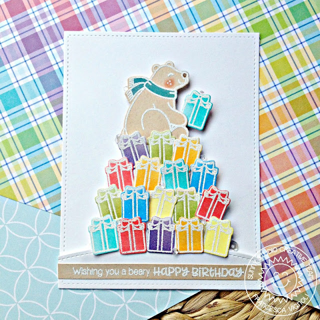 Sunny Studio Stamps: Playful Polar Bear Rainbow Stacked Presents Birthday Card by Franci Vignoli