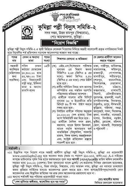 Palli Bidyut Samity ( PBS ) Job Circular 2019 teletalk apply