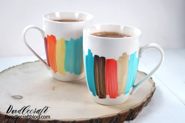 Enjoy your favorite autumn-time beverage in a mug designed by you! These color block mugs are a simple and fun craft to make for fall.