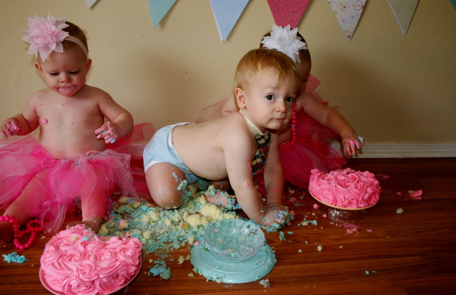 Triplets Toddler Cake Smash Photos