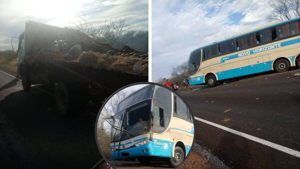 Motorista invade pista contrária e bate de frente contra ônibus da novo horizonte