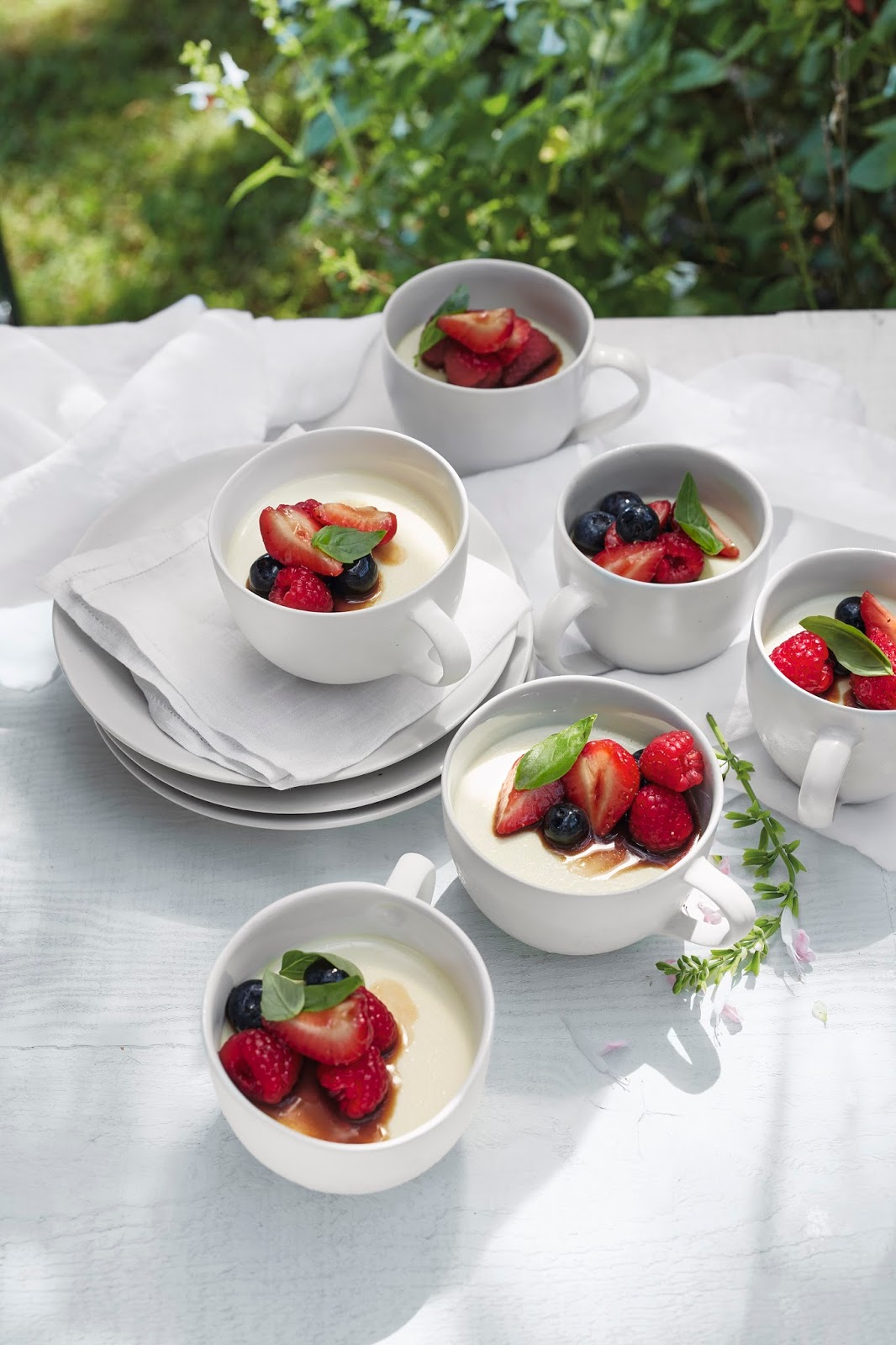 Basil Panna Cotta With Mixed Berries...