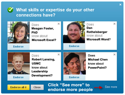 LinkedIn skills endorsements, endorse your connections on LinkedIn,