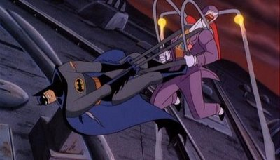 Joker fighting Batman in Batman: Mask of the Phantasm 1993 animatedfilmreviews.filminspector.com