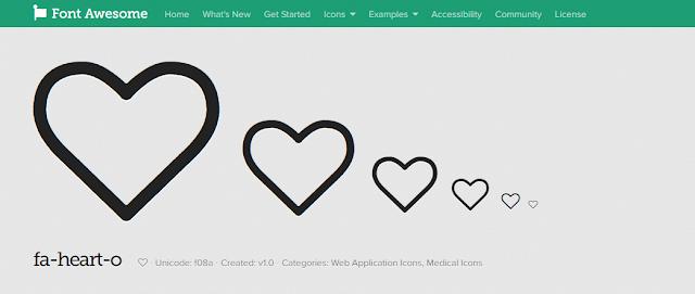 chèn icon hình trái tim lên blog