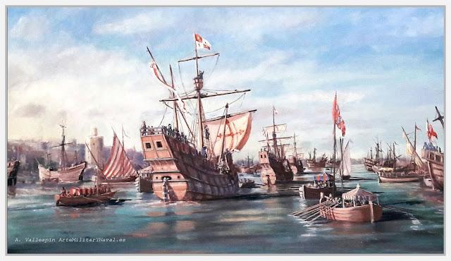 Pintura al óleo de la salida de la expedición Magallanes Elcano