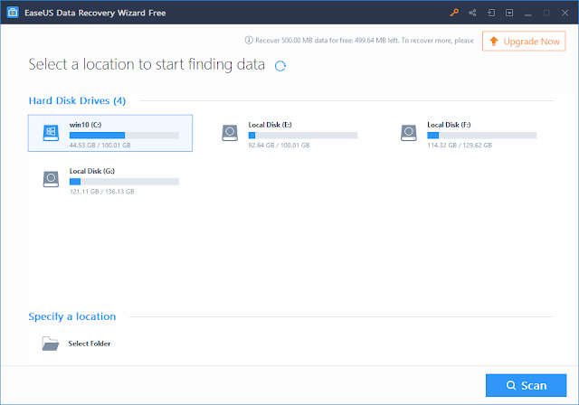 EaseUS Data Recovery Wizard Finding the Location