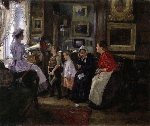 Маковский Владимир Егорович - Слушают граммофон. 1910