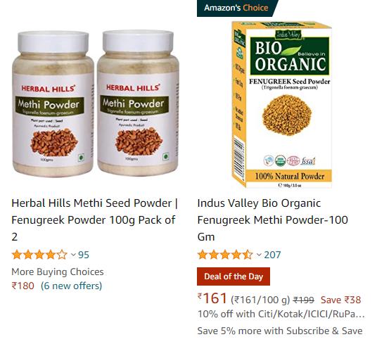 methi seeds powder price on amazon, methi seeds powder