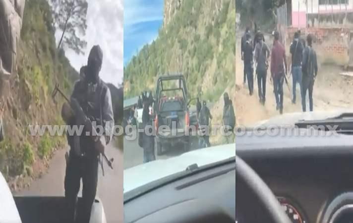 Así es como Sicarios del Cártel de Sinaloa se muestran en Videos haciendo retenes y patrullando Durango