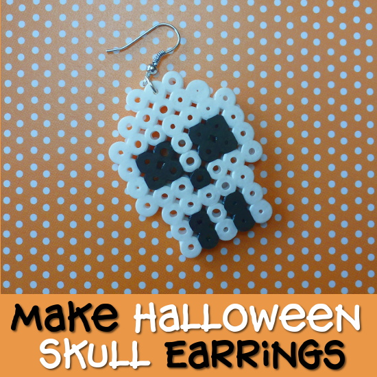 White and black skull earrings made from fused Perler Hama beads craft for Halloween