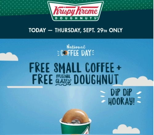Krispy Kreme Free Coffee and Original Glazed Doughnut