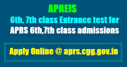 APRS 6th, 7th Classes Admissions test 2018 for AP Residential Schools