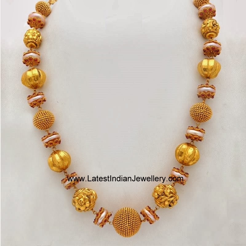 Modern Gold Beads Necklace