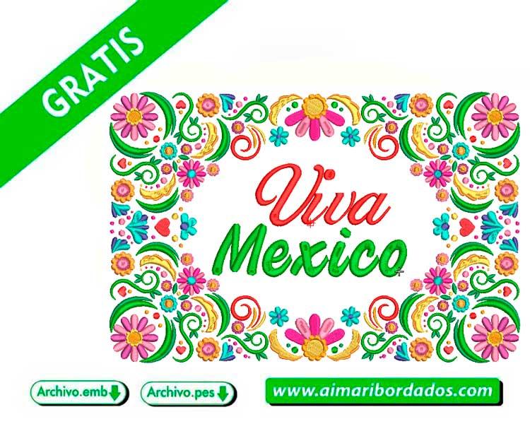Flores Viva México para bordar a máquina DESCARGA GRATIS