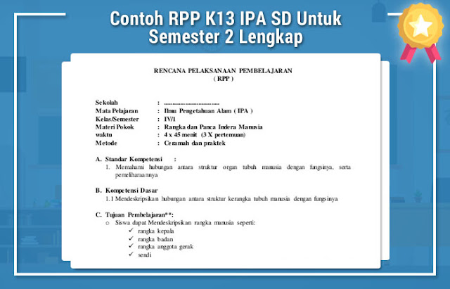 Contoh RPP K13 IPA SD Untuk Semester 2