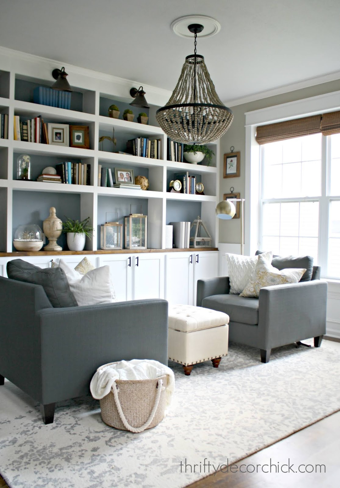 dining room turned library with built ins
