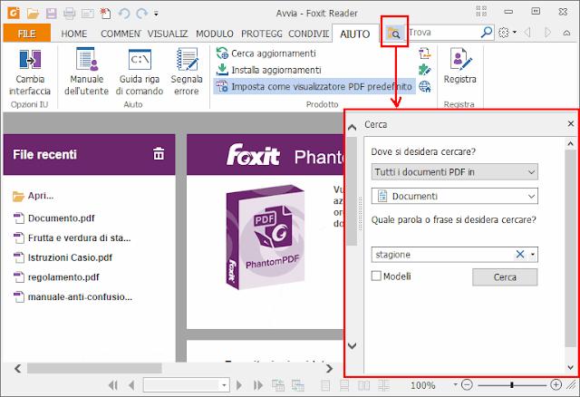 Foxit Reader aprire pannello ricerca PDF