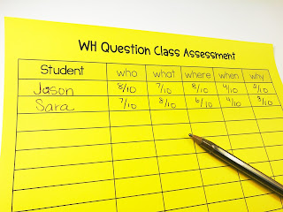 WH QUESTION ASSESSMENT SHEETS