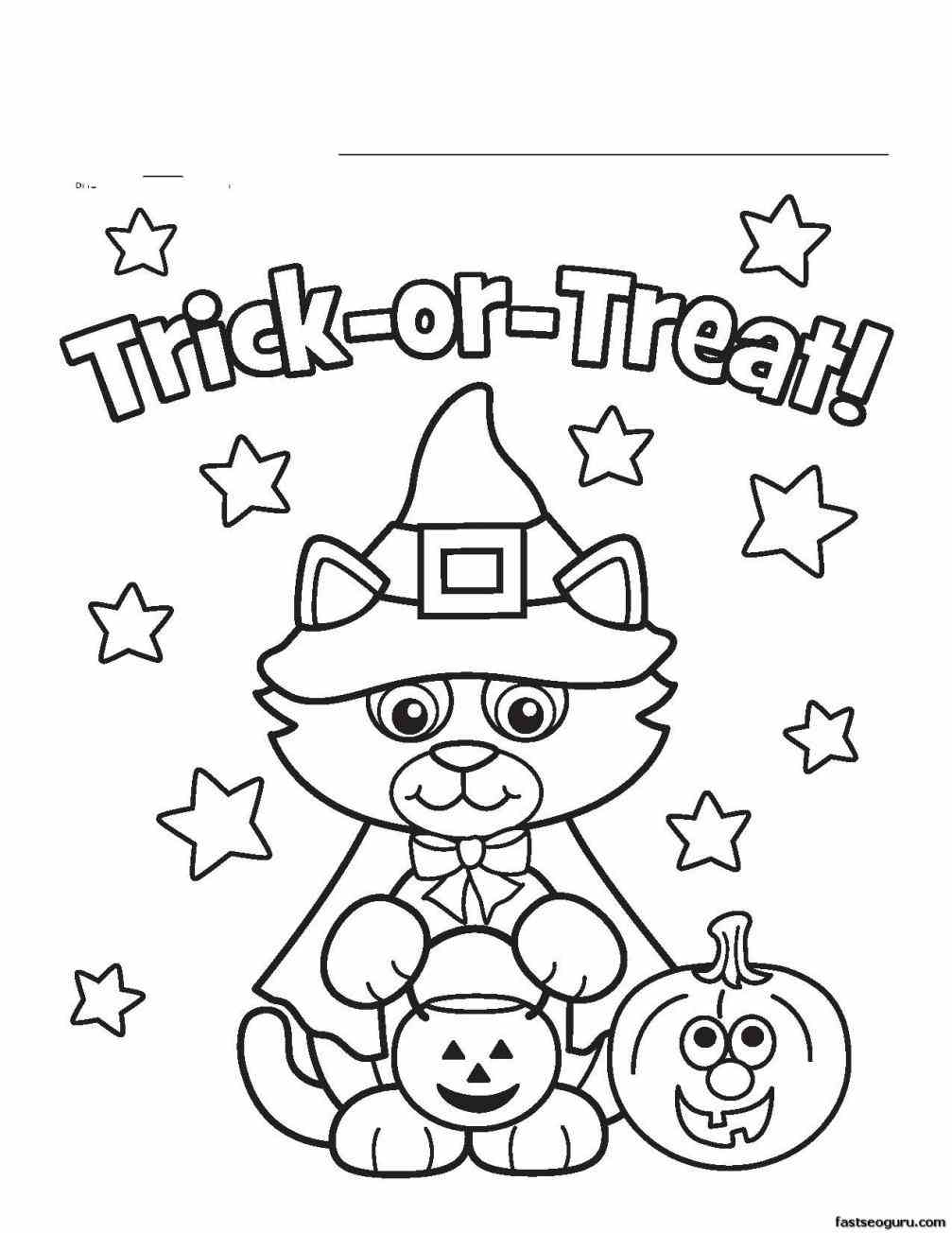 Halloween 2017 Trick Or Treat Coloring Pages Printable For