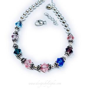 8 Birthstone Bracelet with a Heart Charm