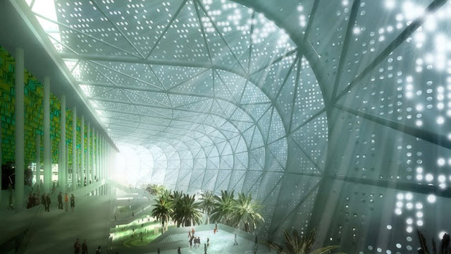 Rendering of interior of Grande Stade de Casablanca by SCAU, Casablanca, Morocco with interior garden and hallways