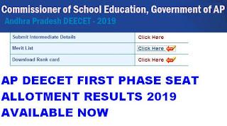AP DEECET First Allotment Results 2019 Rank list @ apdeecet.apcfss.in 1
