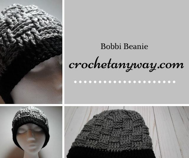 grey and black crochet basket weave stitch beanie hat