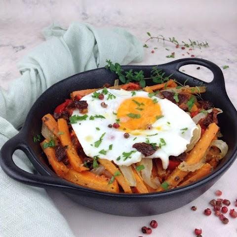 Ovos rotos com cenoura assada e tomate seco (vegetariano; lowcarb)