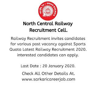 Railway Recruitment 2020 Latest Government job vacancies 2020.